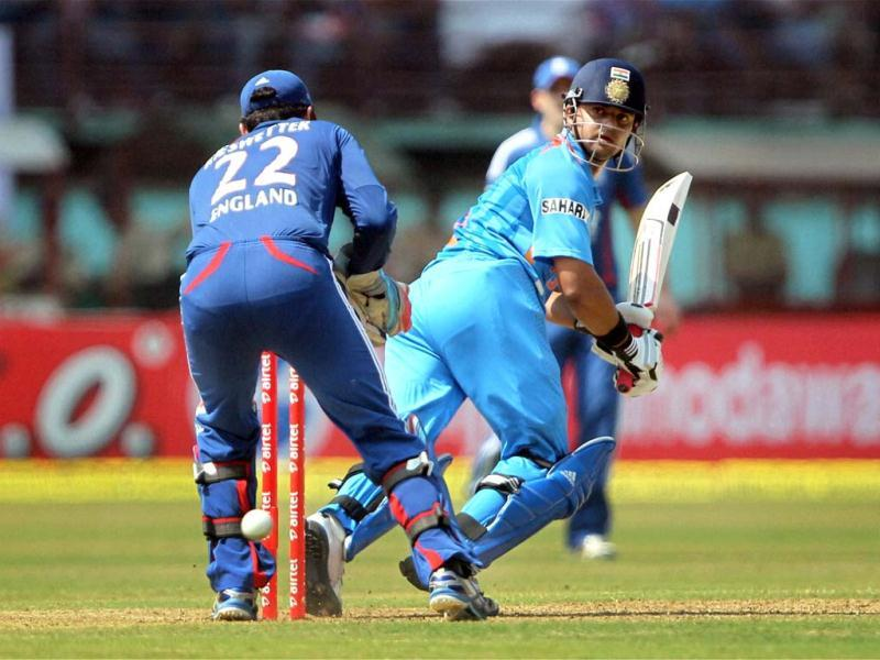 Suresh Raina plays a shot during the 2nd ODI cricket match against England in Kochi . PTI Photo