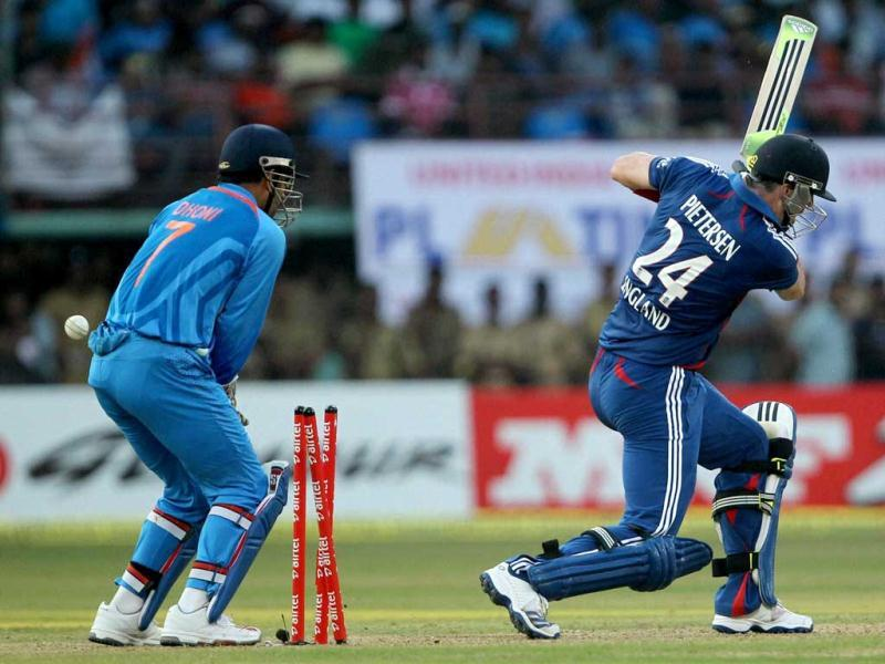 England's Kevin Pietersen is bowled out during the 2nd ODI match against India in Kochi. PTI Photo