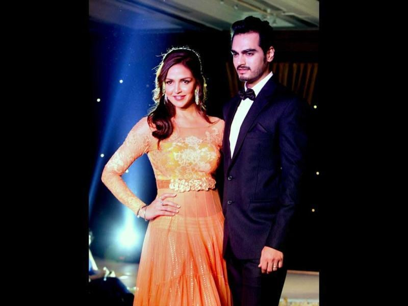 Bollywood actor Esha Deol with husband Bharat Takhtani at a charity fundraiser event of BETI movement for acid attack and rape victims, in Mumbai on Monday night. (PTI Photo)