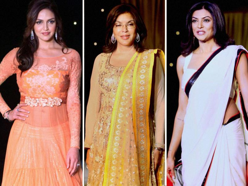 Bollywood stars showcased Neeta Lulla designs at a charity fundraiser event of BETI movement for acid attack and rape victims across the country, in Mumbai on Monday night.