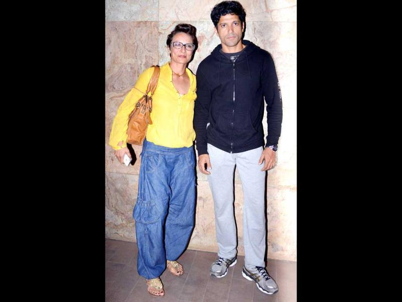 Farhan Akhtar and wife Adhuna (left) were also seen in their casual best.
