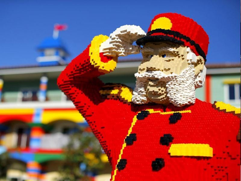 Lego figure is seen as construction continues in North America's first ever Lego Hotel currently being built at Legoland in Carlsbad, California. Reuters