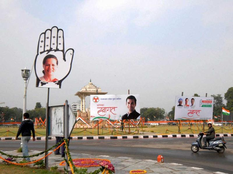 Banners welcoming Prime Minister Manmohan Singh and senior Congress leaders near BM Birla Auditorium, the venue of Congress Chintan Shivir, in Jaipur. PTI Photo