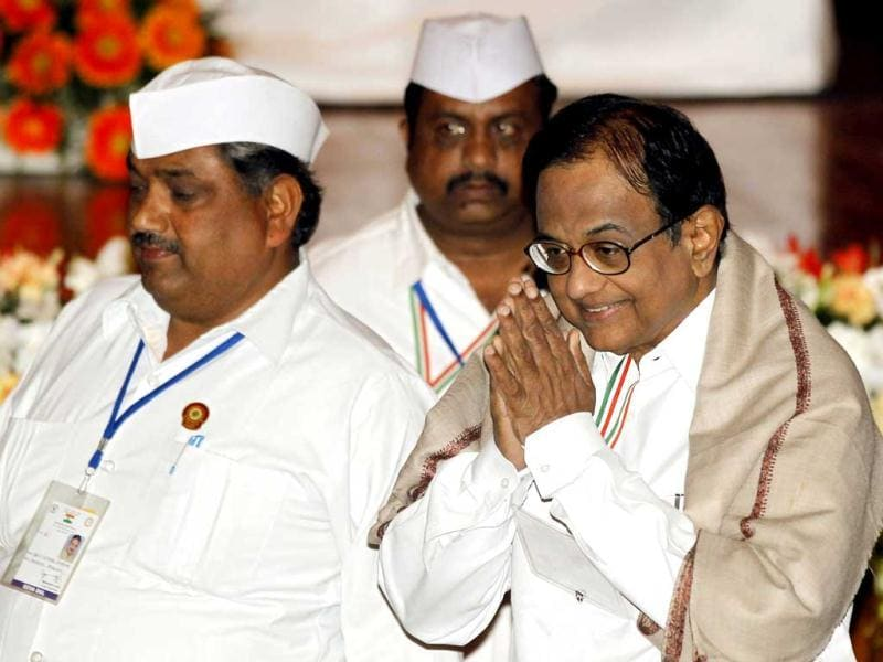 Congress leader P Chidambaram during the 'Chintan Shivir' at Birla Auditorium, in Jaipur. HT Photo