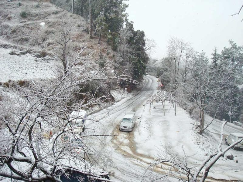 A road covered with snow after snowfall at Joshimath. HT