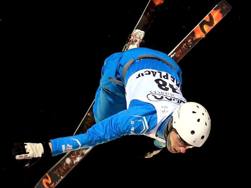Harry Gillam #38 of Great Britain jumps in the USANA Freestyle World Cup aerial competition at the Lake Placid Olympic Jumping Complex in Lake Placid, New York. AFP