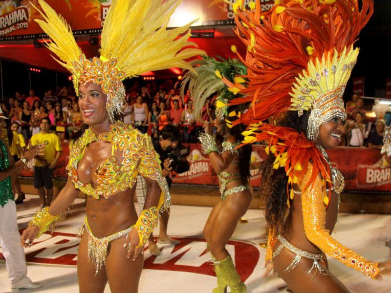 Dancers from San Clemente samba school in Rio de Janeiro, Brazil show off their moves as they participate in the