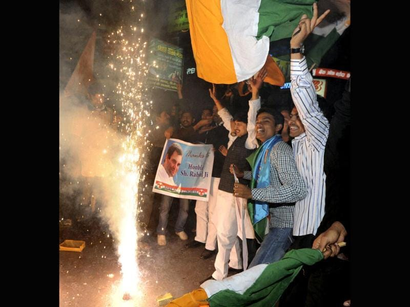 Congress supporters celebrate Rahul Gandhi's appointment as vice president of the party in Patna. PTI Photo