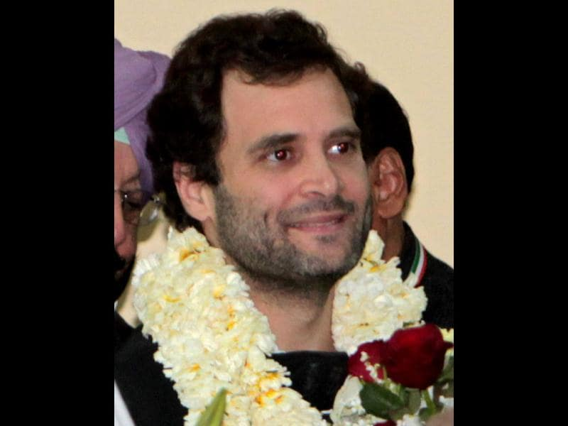 Garlanded Rahul Gandhi after he was appointed as Vice President of the Congress party in Jaipur. PTI Photo