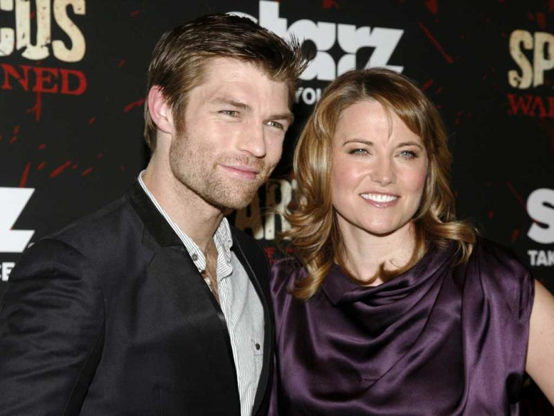 Actress Liam McIntyre, left, and actress Lucy Lawless, right, attend the Spartacus: War of the Damned premiere, at the Musuem of Modern Art in New York. AP photo
