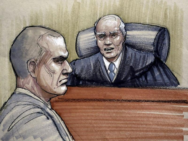In this courtroom sketch, David Coleman Headley, 52, left, appears before US District Judge Harry Leinenweber at federal court in Chicago as Leinenweber imposes a sentence of 35 years in prison for the key role HE played in the Mumabi terror plot. AP Photo