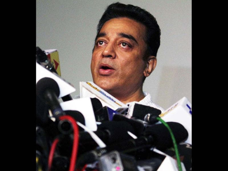 Actor- film maker Kamal Haasan addresses a press conference in connection with his film Vishwaroopam, in Mumbai on Thursday. The multi-talented actor looks tensed as his film was banned from screening in several states across South India. The Hindi movie, Vishwaroop, is also banned in UP. (UNI Photo)