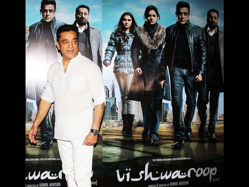 Kamal Haasan looks visibly relieved as his film Vishwaroop hit north India theatres on Friday after around 15 days of struggle for the Tamil film Vishwaroopam. Kamal Haasan addressed a press conference in connection with his films Vishwaroopam, in Mumbai on Thursday. (UNI PHOTO)