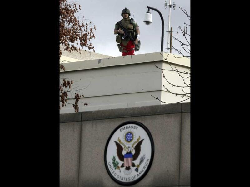 A US soldier stands guard at the entrance of the US embassy in Ankara. Reuters