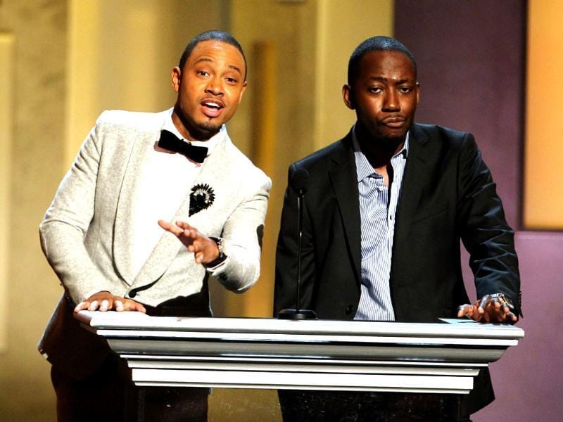 Terrence Jenkins and Lamorne Morris speak onstage at the 44th Annual NAACP Image Awards at the Shrine Auditorium in Los Angeles. AP/Matt Sayles/Invision