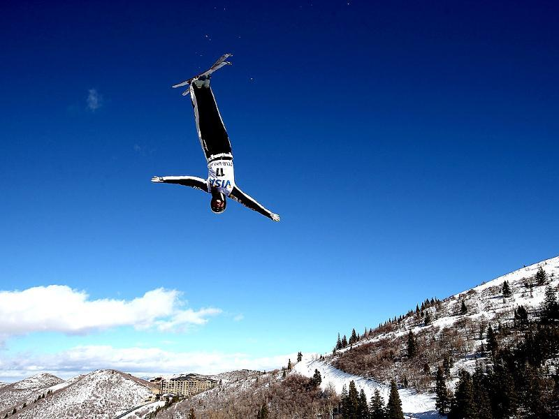 Madison Olsen #17 jumps in qualifying for the Ladies Aerials during the Visa Freestyle International at Deer Valley in Park City, Utah. AFP/Matthew Stockman/Getty Images