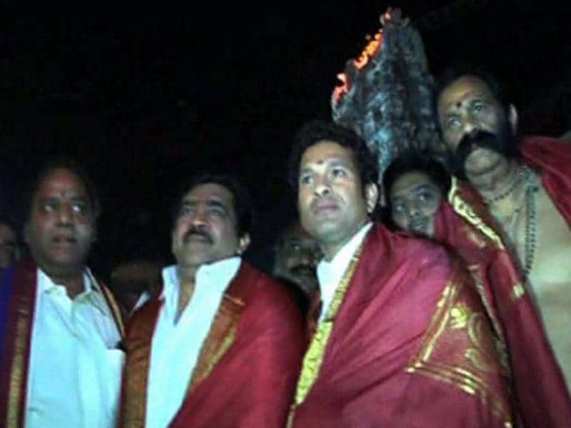 Star batsman Sachin Tendulkar seeks divine intervention at the famous hill shrine of Lord Venkateswara near Tirupati in Andhra Pradesh. (ANI Photo)