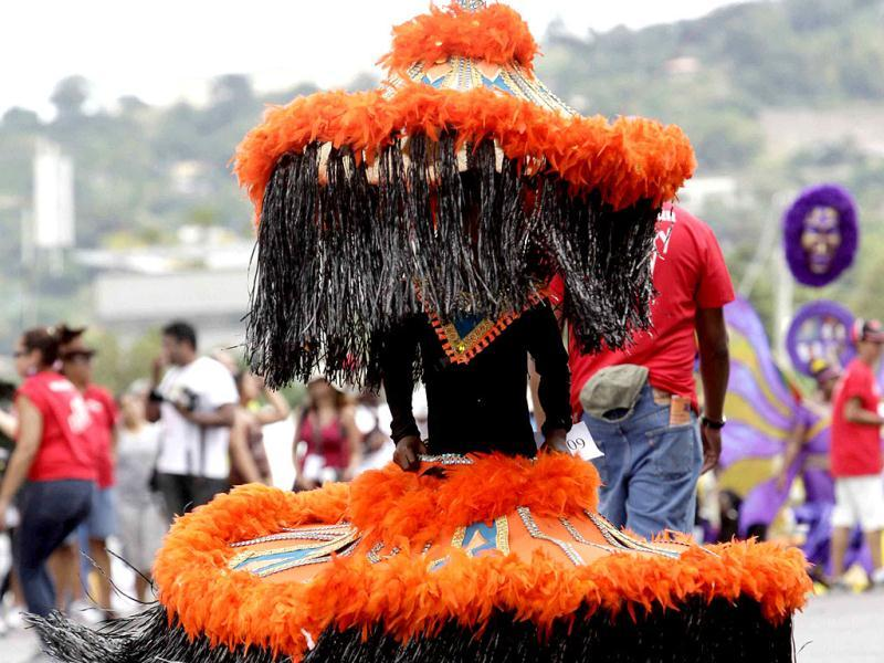 A participant takes part in a masquerade parade at the Trinidad and Tobago Red Cross Society's Children Carnival at Queen's Park Savannah, Port of Spain. REUTERS/Andrea de Silva