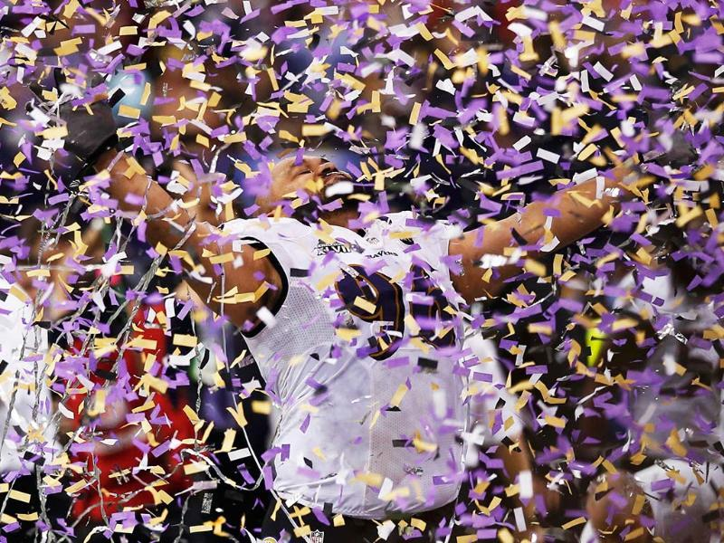 Baltimore Ravens outside linebacker Paul Kruger celebrates after his team defeated the San Francisco 49ers in the NFL Super Bowl XLVII football game in New Orleans, Louisiana. REUTERS