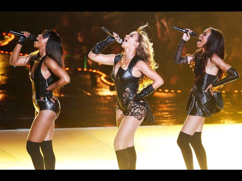 Beyonce (C) and Destiny's Child perform during the half-time show of the NFL Super Bowl XLVII football game in New Orleans, Louisiana. REUTERS