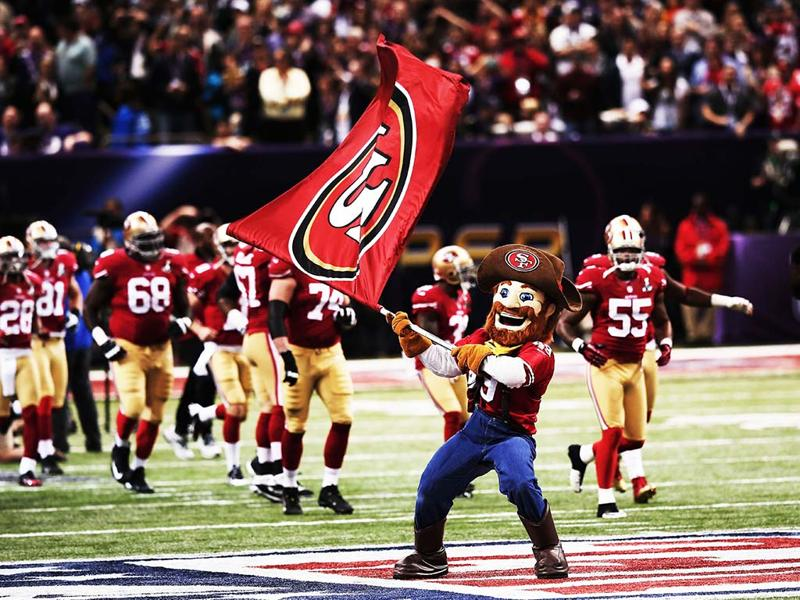NEW ORLEANS,San Francisco 49ers mascot Sourdough Sam waves a flag on the field as players take the field against the Baltimore Ravens during Super Bowl XLVII at the Mercedes-Benz Superdome in New Orleans, Louisiana.(AFP Photo)