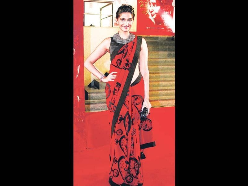 Sonam Kapoor teams a quirky print with an interesting neckpiece. She looked elegant and charming at the premiere of Mai on Thursday.