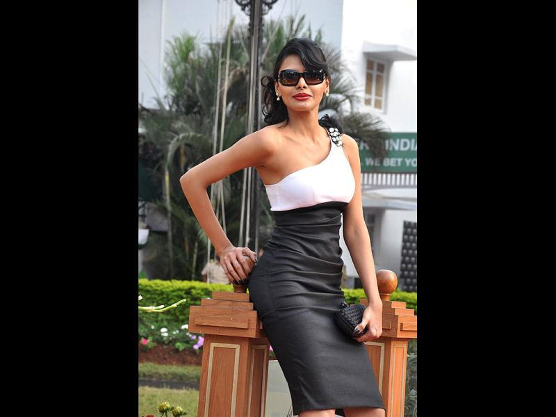 Sherlyn Chopra at McDowell Signature Premier Indian Derby at the Mahalaxmi Race Course in Mumbai.