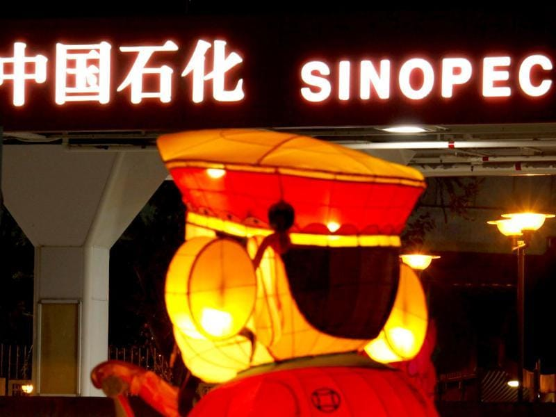 A Chinese New Year lantern installation is displayed outside a Sinopec gas station in Hong Kong. Reuters/Bobby Yip