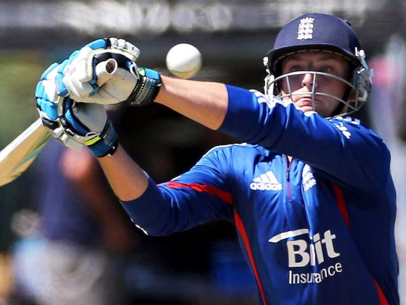England's Jos Buttler bats during the warm up Twenty20 cricket match between the New Zealand XI and England played at Cobham Oval in Whangarei. (AFP Photo)