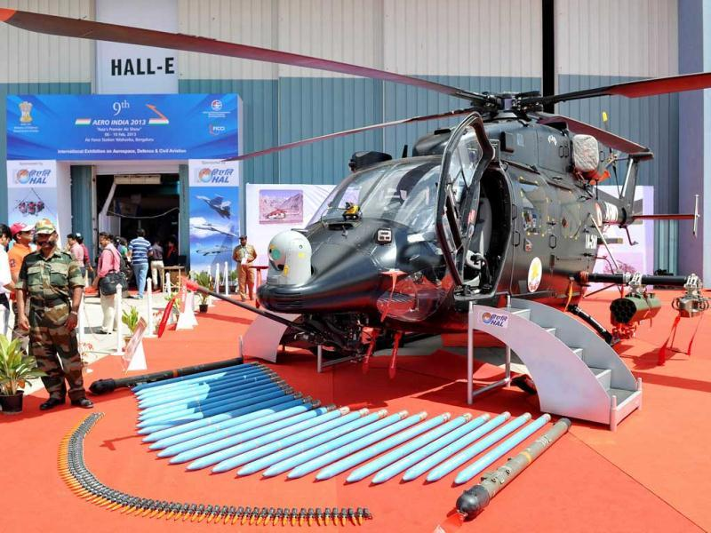 The HAL Rudra helicopter is pictured with an assorted display of armament during Aero India 2013 at the Yelahanka Air Force station in Bangalore. AFP