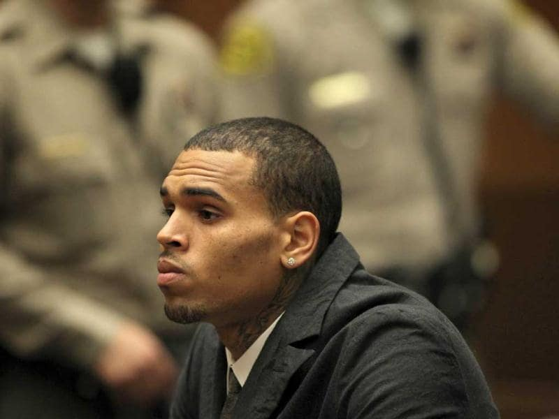 R&B singer Chris Brown appears in court for a probation progress report hearing in Los Angeles, California. AFP