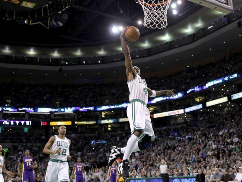 Boston Celtics Jason Terry breaks away for a layup against the Los Angeles Lakers in the second half of their NBA basketball game at TD Garden in Boston. Reuters