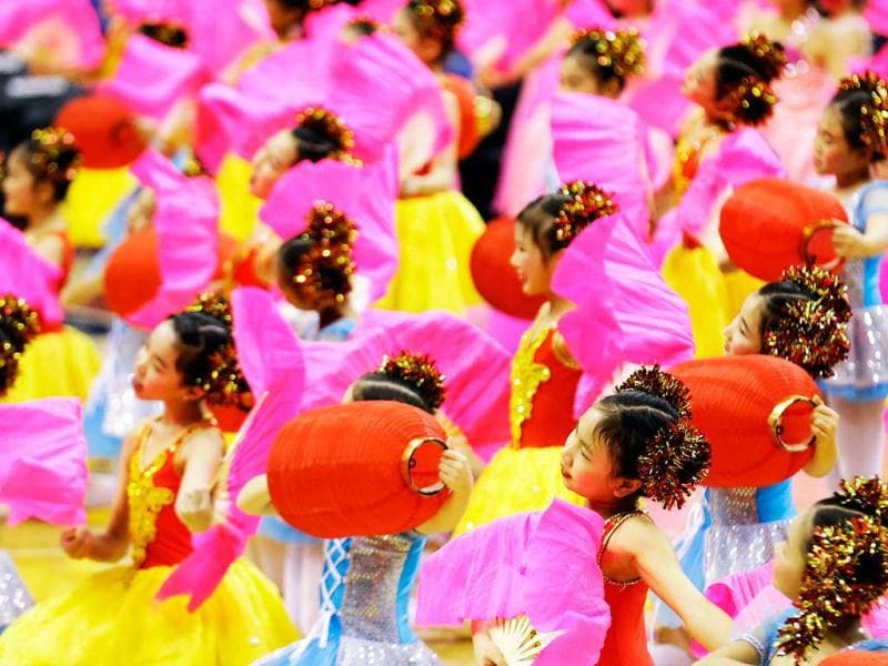 Dancers from the Jin Ling Dance School perform in celebration of the Chinese New Year before an NBA basketball between the Washington Wizards and the Brooklyn Nets in Washington. AP