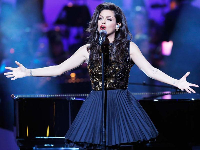 Israeli-born French singer Tal Benyerzi, known as Tal performs on stage during the 28th Victoires de la Musique annual ceremony, France's top music awards, at the Zenith concert hall in Paris, France. AP