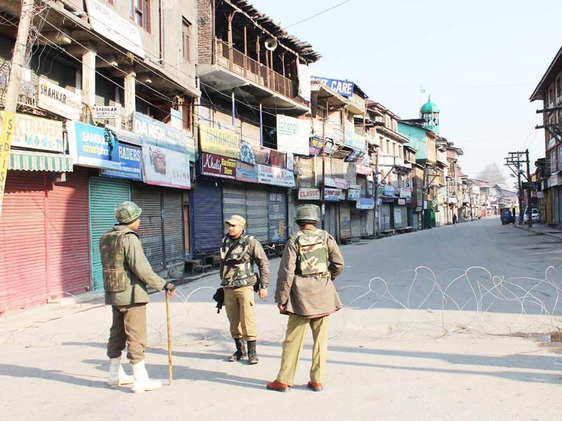 Curfew was clamped in parts of the Kashmir Valley and strict vigil maintained after the hanging of Parliament attack convict Afzal Guru. UNI