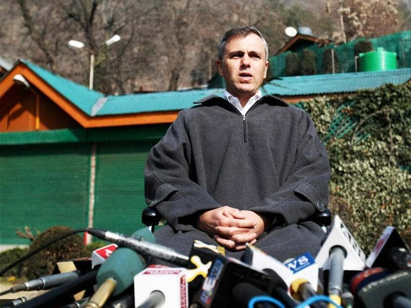 Chief minister of Jammu and Kashmir Omar Abdullah during a press conference in Srinagar. PTI/S Irfan