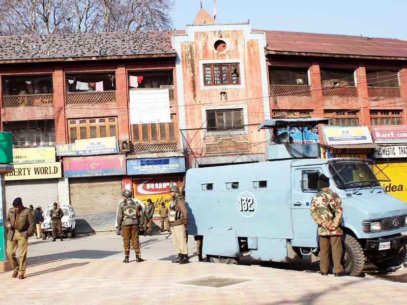 An armoured vehicle on high alert at Budshah Chowk in Srinagar after curfew was imposed in major parts of Kashmir Valley following the hanging of Parliament attack convict Afzal Guru. UNI
