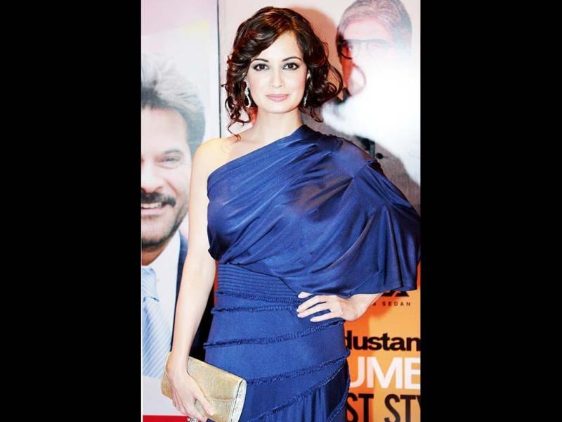 Dia Mirza totally nails it in a blue one off-shoulder dress and how!