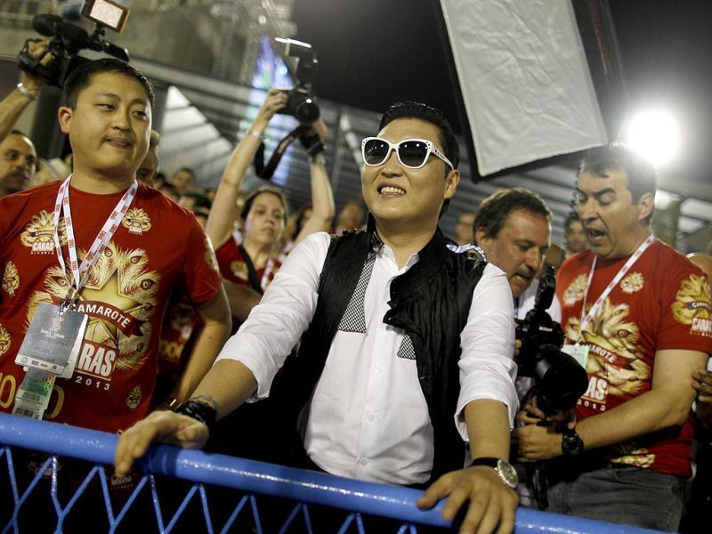 South Korean singer Psy attends the second night of the A Group annual Carnival parade in Rio de Janeiro's Sambadrome. Reuters