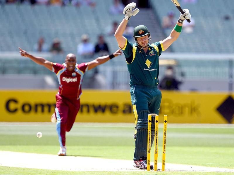 Australian batsman Shane Watson is bowled by West Indies paceman Tino Best in their one-day cricket international played at the Melbourne Cricket Ground. AFP