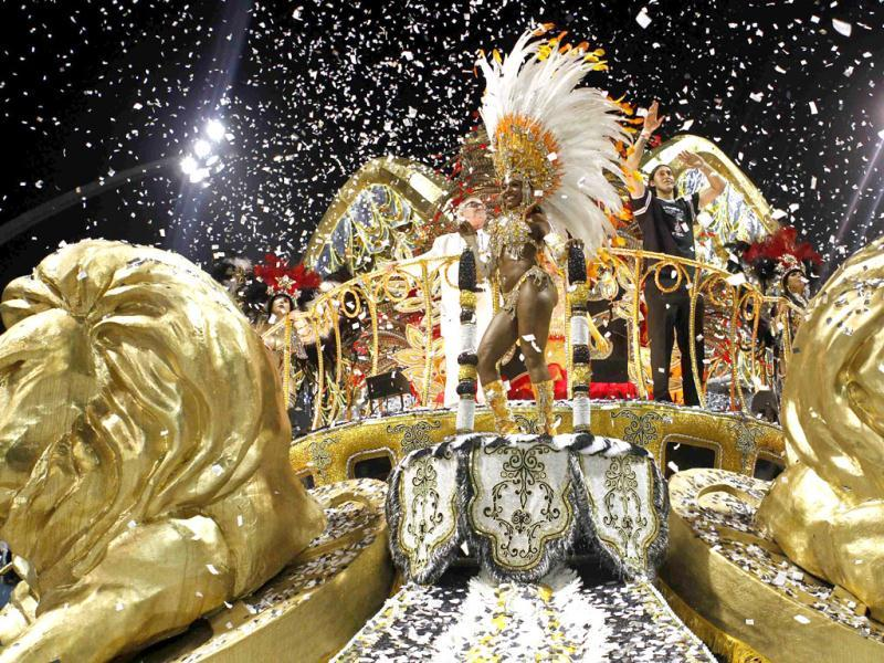 Revellers from the Gavioes da Fiel Samba School take part in a carnival at Anhembi Sambadrome in Sao Paulo. Reuters