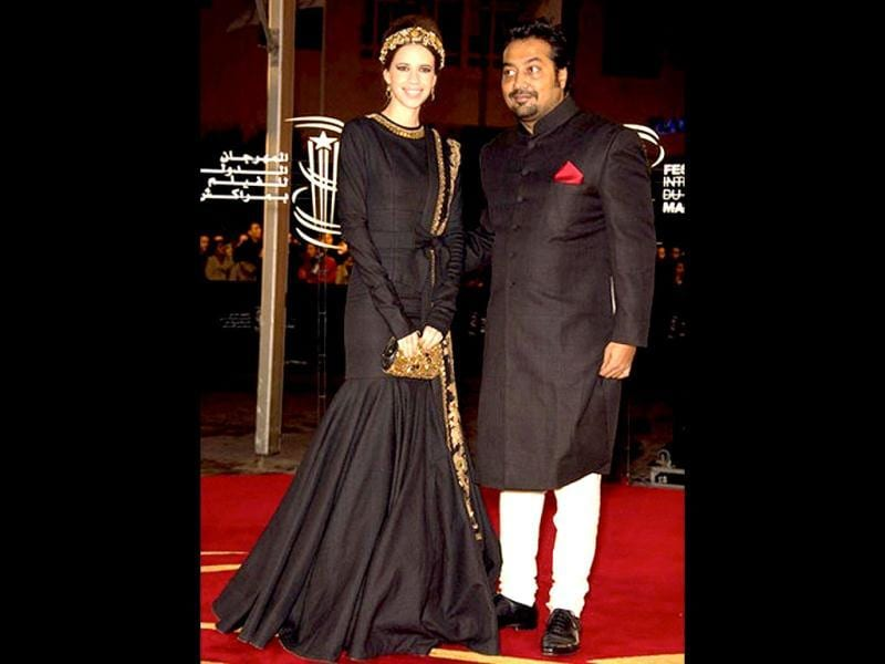 Kalki looks classy in this baroque attire with hubby Anurag Kashyap.
