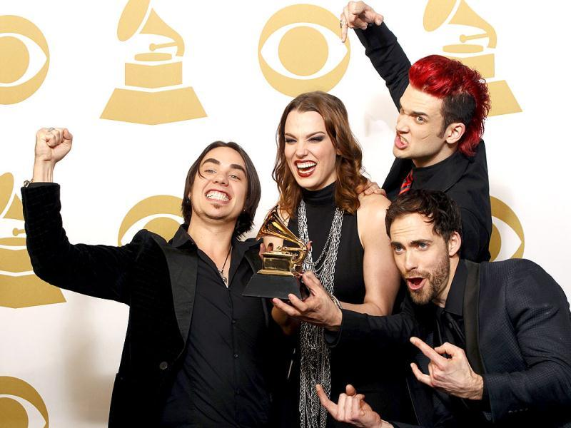 Heavy metal band Halestorm accept the Best Hard Rock/Metal Performance Award for Love Bites (So Do I). (AFP Photo)