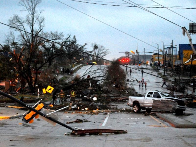 Hardy Street in front of the University of Southern Mississippi campus is obstructed by debris blown by an apparent tornado in Hattiesburg, Missisippi. AP photo