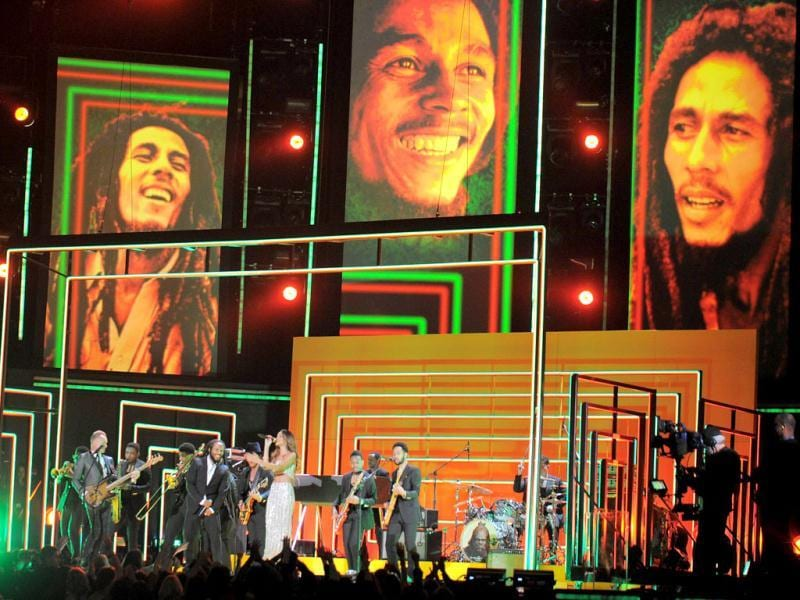 Rihanna, Bruno Mars, Sting, Ziggy and Stephen and Damian Marley perform in tribute to Bob Marley on stage at the Staples Center during the 55th Grammy Awards in Los Angeles, California. AFP photo