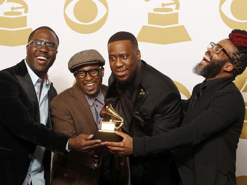 Musicians Derrick Hodge, Chris Dave, Robert Glasper and Casey Bengamin, winners of Best R' + char(38) +'B Album for Black Radio. (AFP Photo)