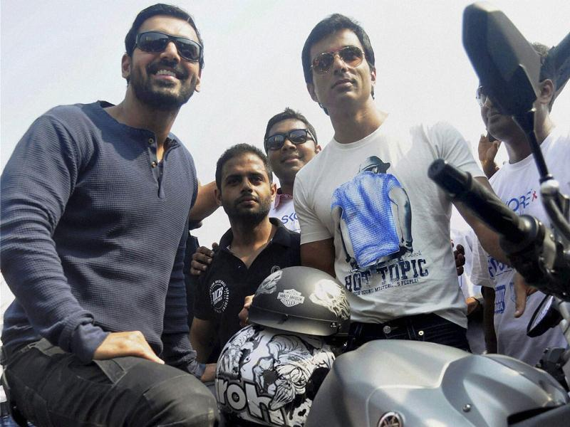 John Abraham and Sonu Sood at Super Bike Rally from Bandra to Worli in Mumbai. (PTI Photo)