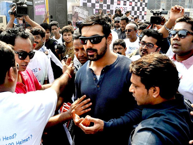 Bollywood film actors John Abraham attends the Super Bike Rally for the promotion of his upcoming film Shoot out at Wadala on February 10, 2013. (AFP PHOTO)