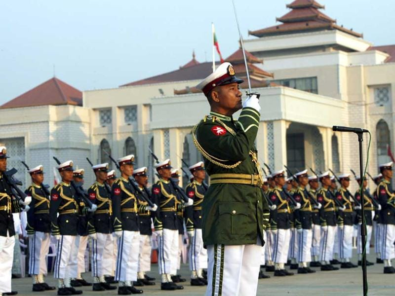 Honor guards march during a ceremony marking the 66th anniversary of Union Day in Naypyitaw, Myanmar. AP Photo