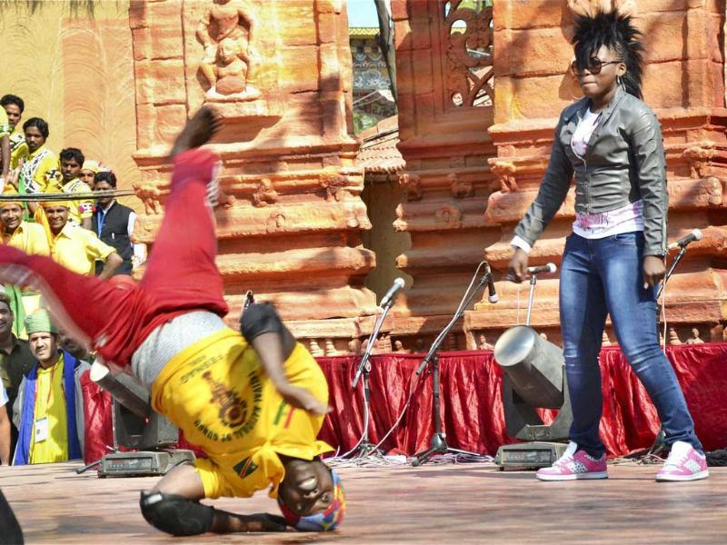 Artists from Congo perform at the International Arts, Crafts Surajkund mela in Faridabad. Photo: PTI
